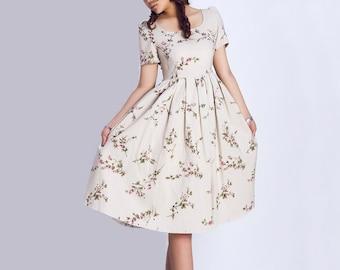 bridesmaid dress, linen dress, floral dress, knee length dress, print dress, vintage inspired dress, short sleeves dress, summer dress 139