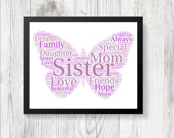 Personalised Beautiful Butterfly Word Art Print Gift Keepsake Birthday Christmas Daughter Mom Nan Mother Sister Family