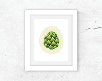 8x10 Artichoke / Professional print of my original illustration / gift / Mother's Day