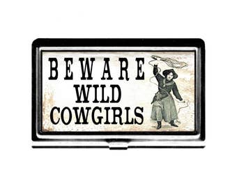 Beware Wild Cowgirls Business Card Case Credit Card Holder stainless steel card case wallet retro vintage western