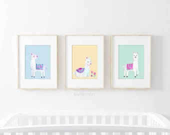 Llama wall art - Kids room decor - Nursery art - Baby girl gift - Printable art - Alpaca llama print - Colorful rainbow - Cute llama poster