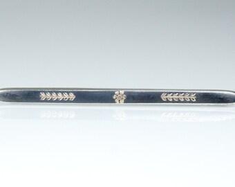 Antique Victorian Niello Silver Rose Gold Brooch Pin