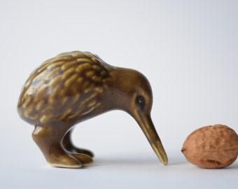 Collectible Danish - bird figurine - Kiwi - Knud Basse - Scandinavian mid century pottery