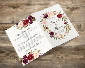 Imprimibles boda programa folleto, orden de servicio, bohemio Borgoña púrpura rosado Floral Boho ceremonia digitales archivos de programa - BPF-23