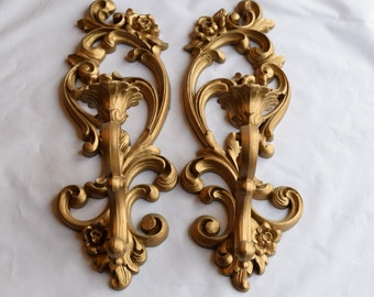 Set of 2 Vintage Homco Antique Bronze painted Sconces/ 1970s Wall Decor