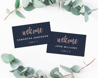 Wedding Place Card Template, Wedding Name Cards Template, Navy Blue & Rose Gold Wedding Name Cards Printable, Place Card template Download