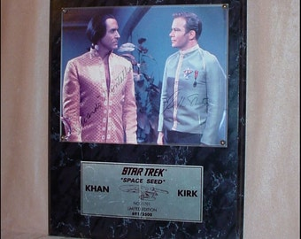 Star Trek Space Seed Vintage Plaque Signed by Shatner and Montalban