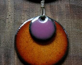 Purple and Orange Necklace, Enamel Necklace, Purple Necklace, Orange Necklace, Persimmon Orange, Aubergine Purple