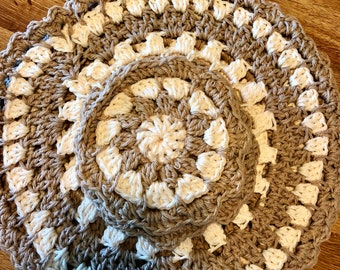 Set Of Four Hand Crochet Placemats & Coasters