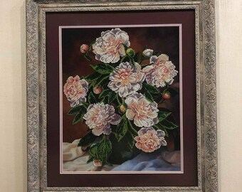 """Beaded embriodery """"Piones"""" framed picture"""