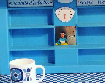 Great mug advertising seventies blue mobile. Arcopal. french vintage