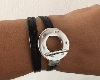 Bracelet double leather creation zamak silver hammered toggle clasp French lophelisa (give me your wrist size)