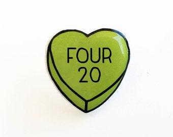 Four 20 - Anti Conversation Green Heart Pin Brooch Badge