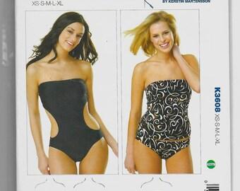 K3608 Kwik Sew Swimsuits Sewing Pattern Sizes XS-XL