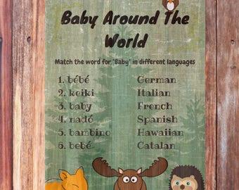 Printable Woodland Baby Shower Game, Baby Around The World, Baby