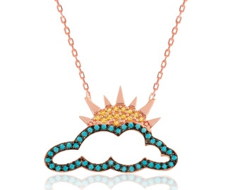 Silver Necklace Sun Partly Cloudy - IJ1-1751