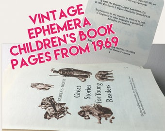 Vintage ephemera Book Pages for Scrapbooking, Collage, Mixed Media, Art Journal, Card Making, Papercrafts and more