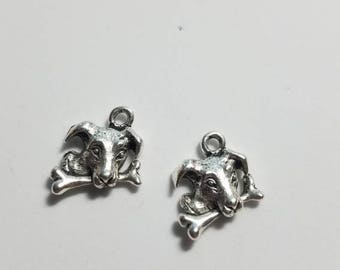 Silver Dog with a Bone Charms