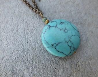 Turquoise Pendant Necklace Extra Long Necklace Boho Necklace Pendant Bohemian Long Statement Necklace