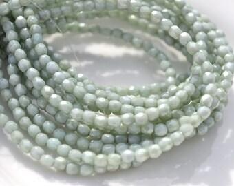Pale Pistachio Green 3mm Faceted FirePolish Round Czech Glass Beads   50