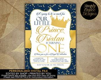 Royal Prince First Birthday Invitation