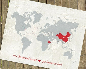 Adoption Gift Map, Personalized Baby Gift,  World Map Customized Love Map