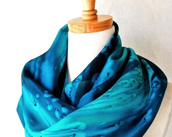 Silk Scarf Hand Painted in Deep Ocean Blues, Mother's Day Gift, Ready to Ship
