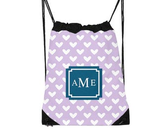 Drawstring Backpack, Drawstring Gym Bag, Drawstring Bag, Sleepover Bag, Monogram, Personalized, Pick Pattern, Pick Colors, Pick Font