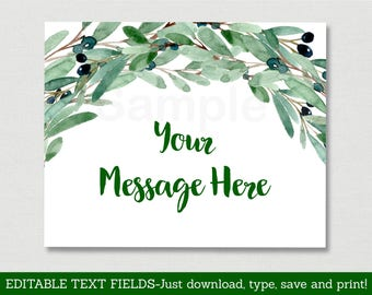 Green Floral Baby Shower Welcome Sign / Green Floral Baby Shower / Watercolor / Instant Download Editable PDF A189