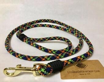Dog Leash 5'- rope - handmade in USA - multicolored