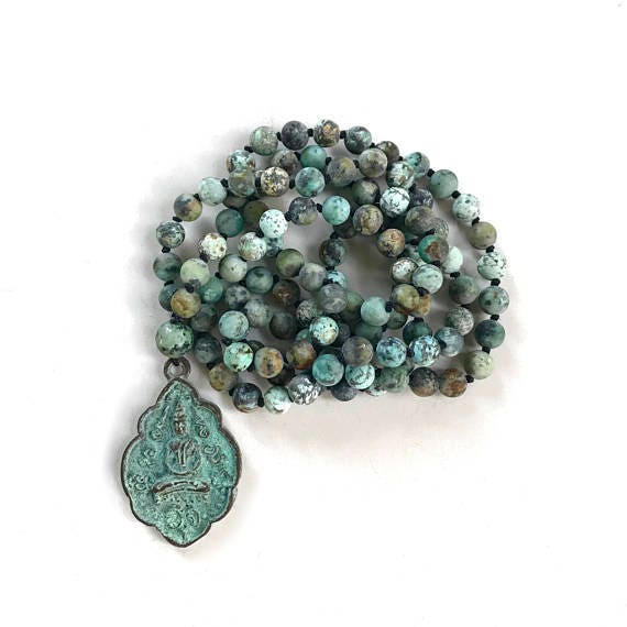 Mala Beads For Positive Change, African Turquoise Mala Necklace, 108 Bead Knotted Mala, Buddha Necklace, Yoga Meditation Beads, Yoga Jewelry