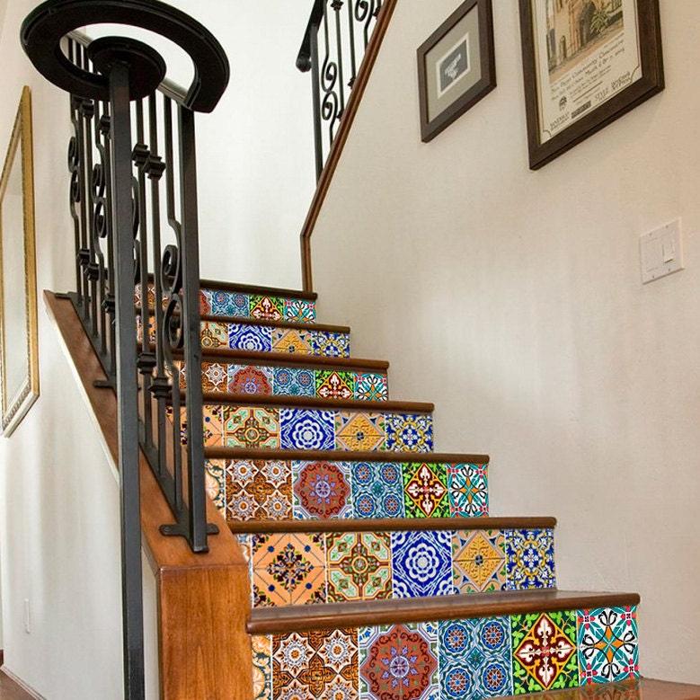 Azulejos pegatinas para escaleras vinilos adhesivos azulejos - Pegatinas para azulejos ...