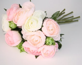 CLUTCH BOUQUET Ranunculus Bouquet in Light Pink, Lime Green, White - ITEM 0946