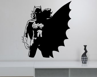 Batgirl Silhouette Removable Sticker Vinyl Wall Decal Marvel Comics Superhero Art Decorations for Home Bedroom Kids Girls Room Decor btg8