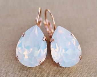 BRIDAL ROSE GoLD White Opal Swarovski Rhinestone Earring,Large Teardrop Pear,Rose Gold Drop,Swarovski Rhinestone Dangle,Bride,Wedding