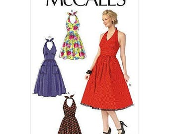 McCall's M7157 Size 6-14 or 14-22 Misses Halter Dresses Sewing Pattern / Uncut/FF