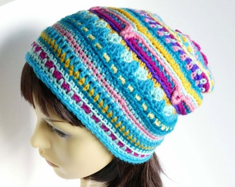 Flower Power! Colorful Crochet Mandala slouch hat, Festival hat.  Hand made, adult size