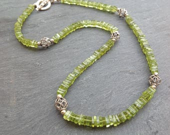 Peridot gemstone necklace,  Bali sterling silver, Karen Hill Tribe silver, Sterling silver, August birthstone, green necklace, gift for her