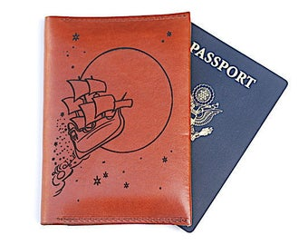 Second Star to the Right and Straight On Till Morning, Leather Passport Wallet, Travel, Peter Pan, Gifts for Her, Neverland, Graduation Gift
