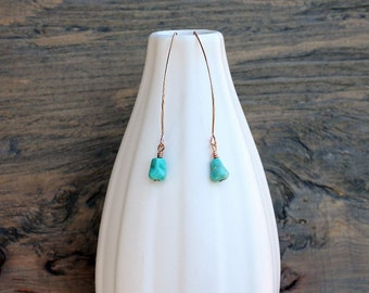 Rose gold earrings with turquoise, handmade rose gold earrings