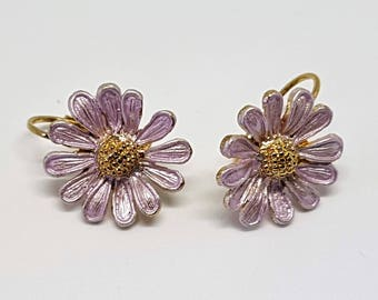 Vintage lever back earrings Lilac flowers with golden centres