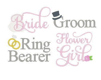 Bride & Groom Wedding Embroidery Design Set - Instant Download