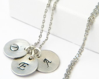 Silver Initial Necklace, Personalized Necklace, Initial Disc Charm necklace, silver monogram necklace,Coin Initial Disc Bridesmaid Gift