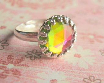 Rainbow Swarovski Ring Sterling Silver Swarovski Ring Silver Plated Ring Swarovski Jewelry adjustable Ring adjustable Silver Ring