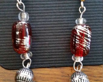 Red and silver swirl earrings