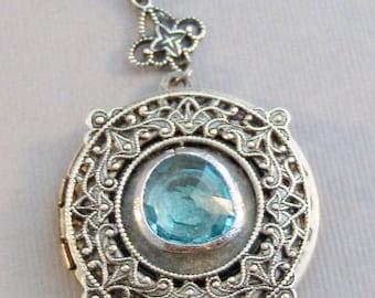 Victorian Aquamarine,Aquamarine Necklace,Aquamarine Locket,Aquamarine,March Birthstone,Blue Stone,Aquamarine Birthstone Valleygirldesigns.