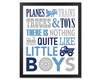Baby Boy Nursery Wall Art Navy Blue Gray Boy Room Wall Decor Truck Airplane Train Toddler Boy Art Baby Nursery Decor Boy Wall Decor Digital