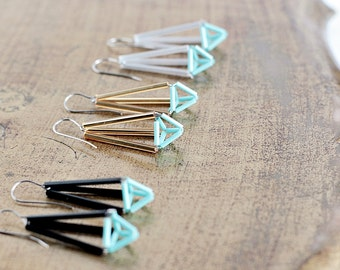 Gold Turquoise Earrings- Geometric earrings- Prism Himmeli Faceted Pyramids