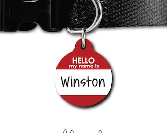 Hello My Name Is Pet Tag Personalized Hello PetTag  Pet ID Tag Dog Tag Cat Tag Custom Dog Tag Cat Tag Custom Pet Tag Personalized ID Tag