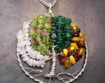 Four Season Tree of Life necklace pendant 2014 - Winter Spring Summer Fall Moonstone Quartz Crystal Peridot Pink Tourmaline Baltic Amber